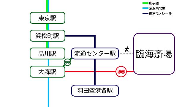 臨海斎場へ向かう場合は流通センター駅か大森駅を目指すのが便利。